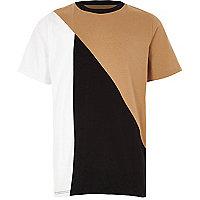 Boys tan brown block T-shirt