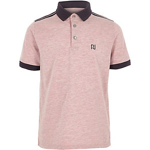Boys pink marl short sleeve polo shirt
