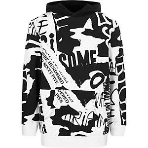 Boys white graffiti print hoodie