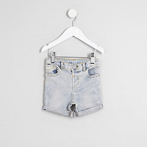 Mini boys light blue Dylan washed denim short
