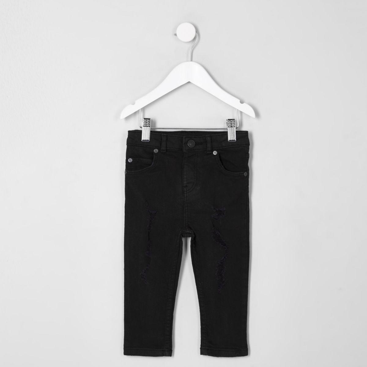 Mini boys black Sid ripped skinny jeans