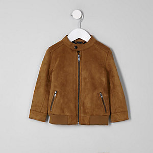 Mini boys tan faux suede racer jacket