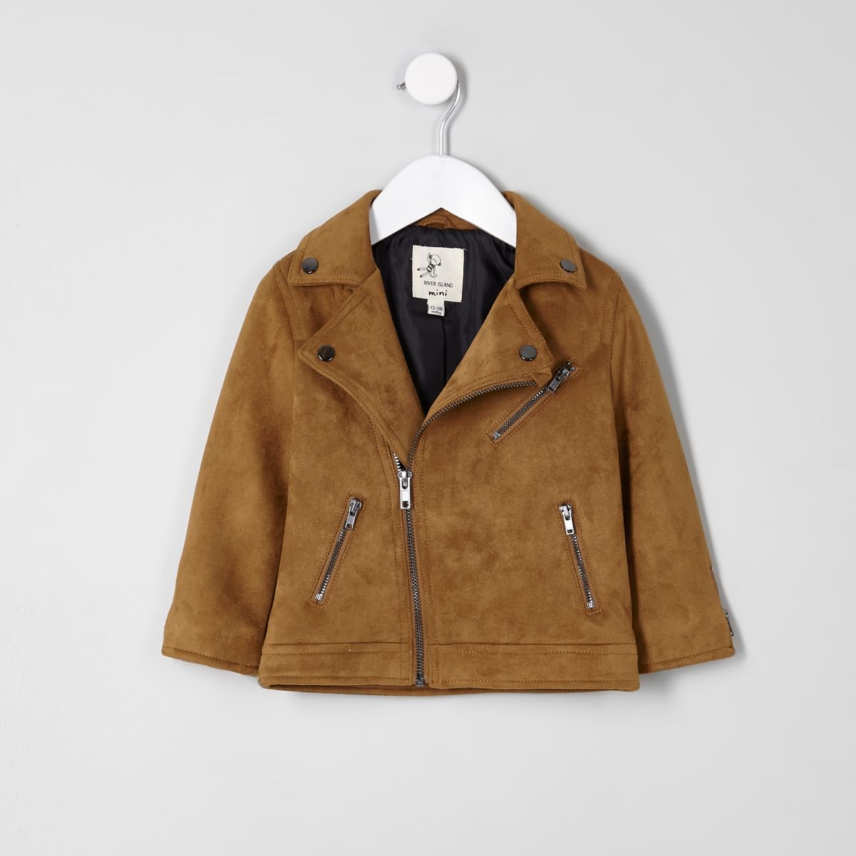 Mini boys tan faux suede biker jacket