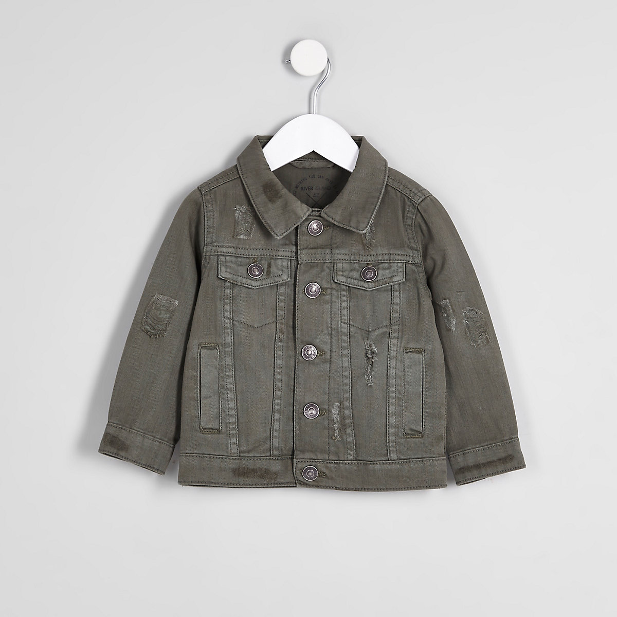Mini boys khaki green denim trucker jacket