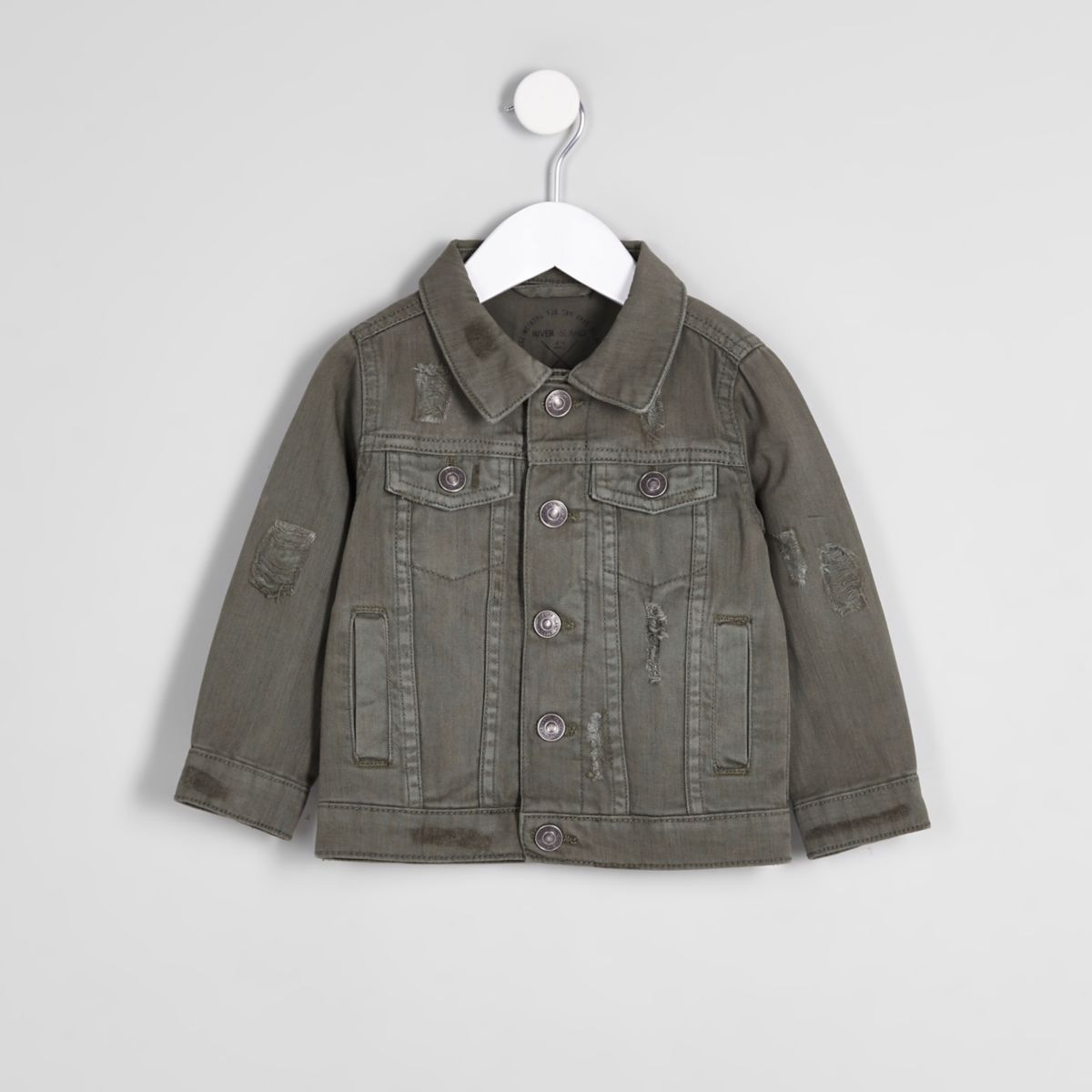Mini boys khaki green denim trucker jacket