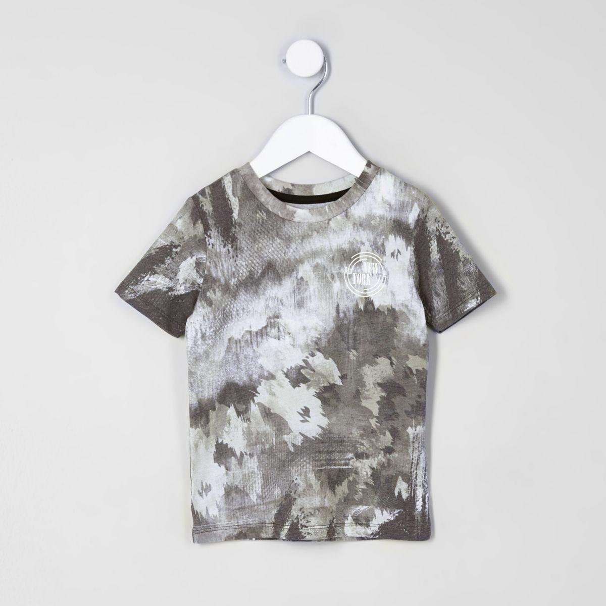Mini boys camo smudge print T-shirt