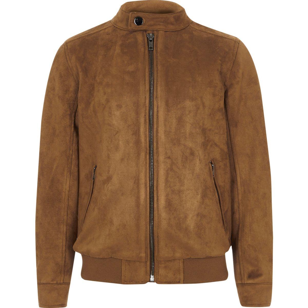 Boys tan faux suede racer jacket