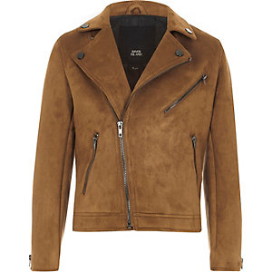 Boys tan faux suede biker jacket