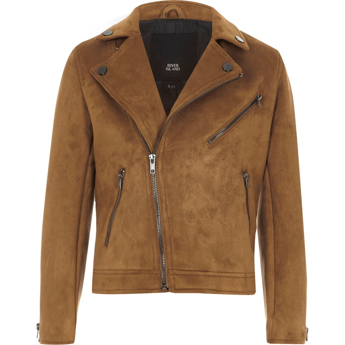 Boys tan faux suede biker jacket