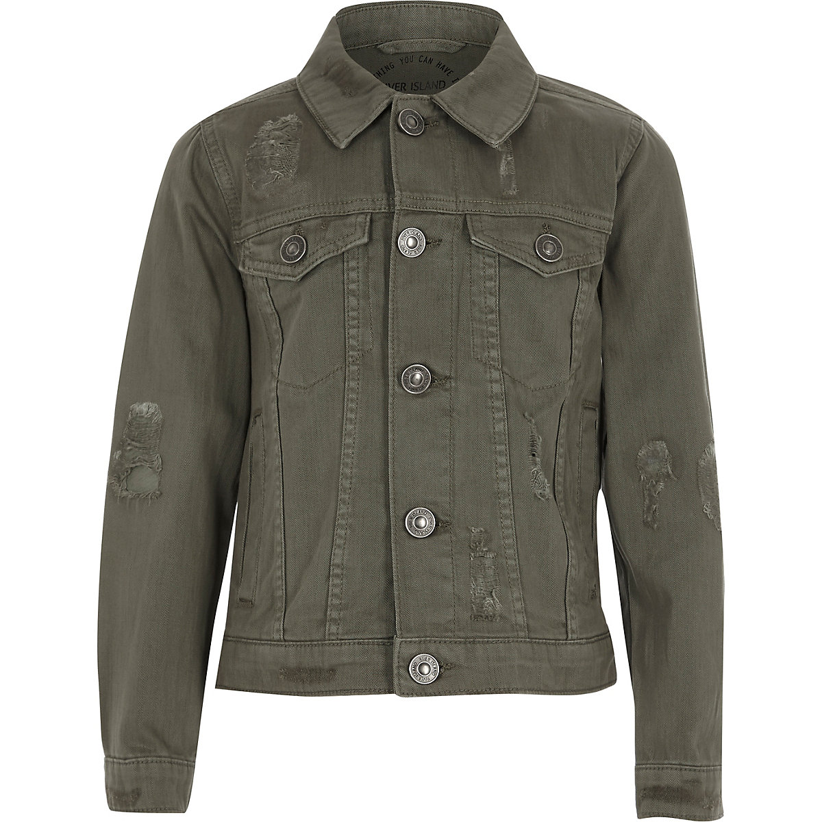 Boys khaki denim trucker jacket