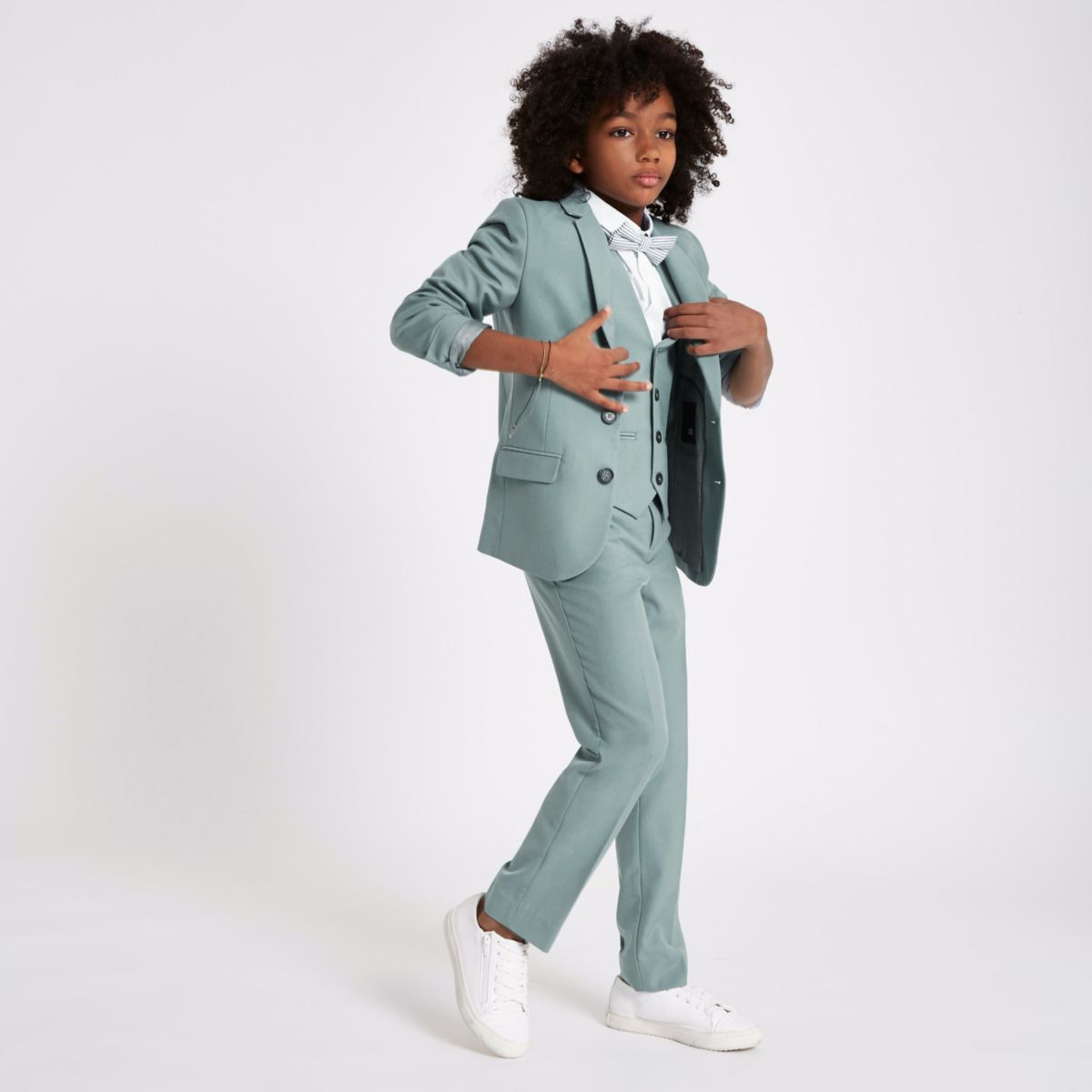 Boys green sage suit waistcoat