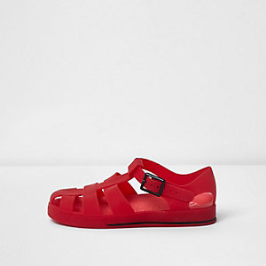 Kids red jelly cage sandals