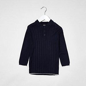 Marineblaues, langärmliges Polohemd