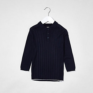Mini boys navy knit long sleeve polo shirt