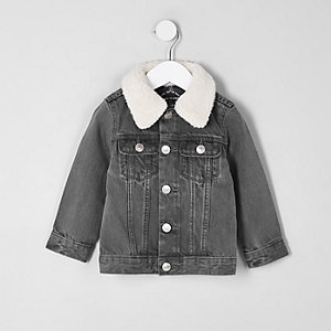 Mini boys grey borg collar denim jacket