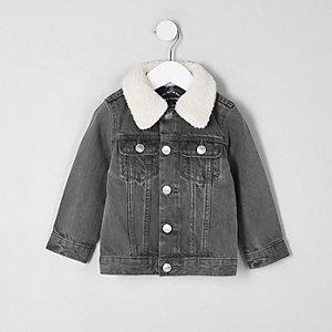 Mini boys grey fleece collar denim jacket
