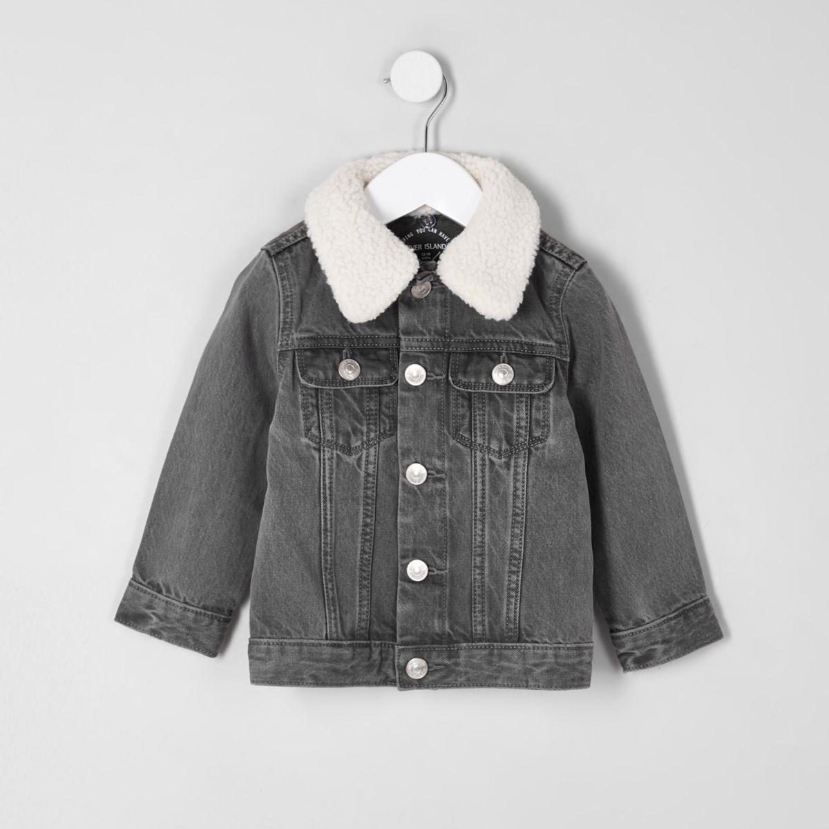 Mini boys grey borg collar denim jacket