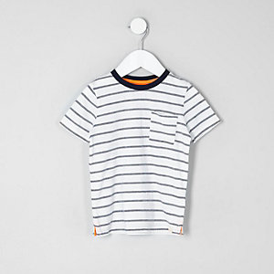 Mini boys cream jacquard stripe T-shirt