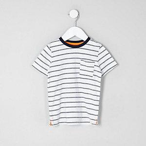 Mini - Crème gestreept jacquard T-shirt voor jongens