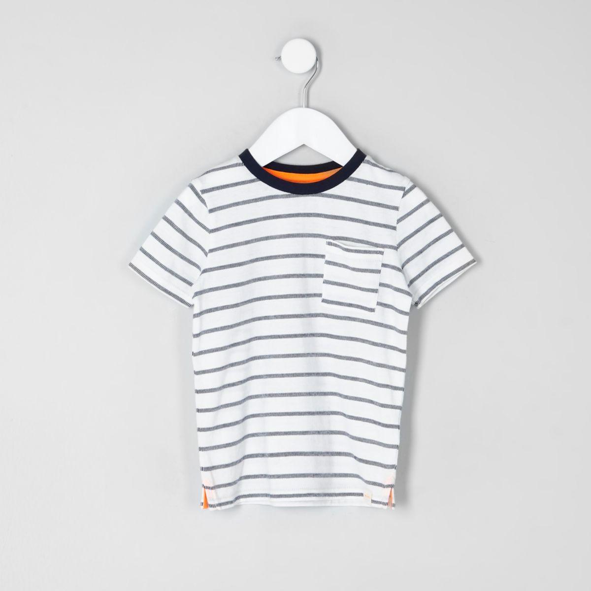 Mini boys cream jacquard stripe T-shirt
