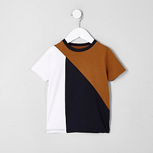Mini boys brown color block T-shirt