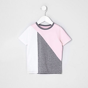 Mini boys pink and grey block T-shirt