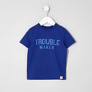 Mini boys blue 'trouble maker' T-shirt