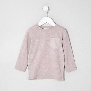 Mini boys pink textured long sleeve T-shirt