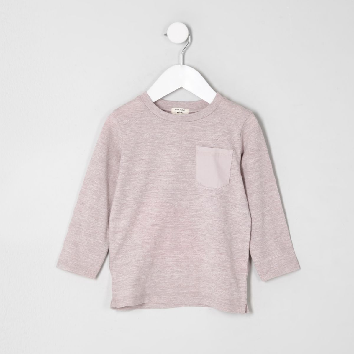 Mini boys pink textured long sleeve T-shirt