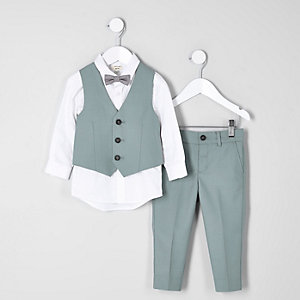 Mini boys green sage suit set