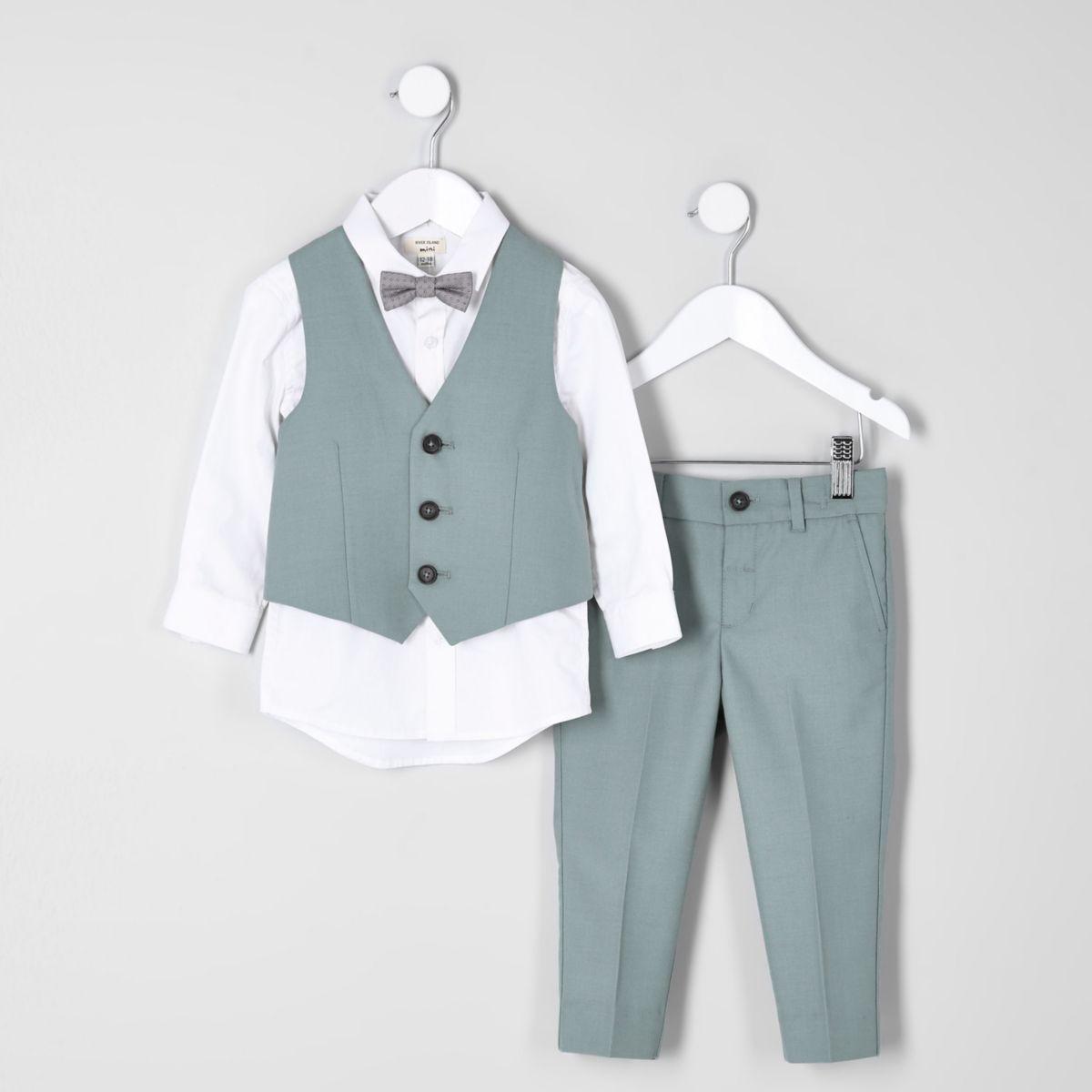 Mini boys green sage suit set