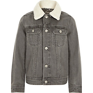 Boys grey borg collar denim jacket