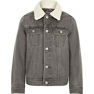 Veste en jean gris à col imitation mouton pour garçon