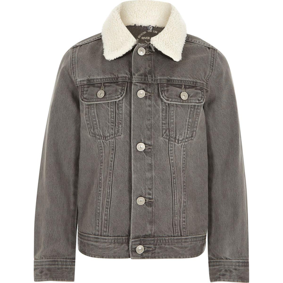Boys grey fleece collar denim jacket