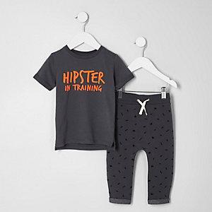 Mini - Outfit met grijs 'hipster' T-shirt voor jongens