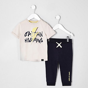 Mini boys stone 'mischievous' T-shirt outfit