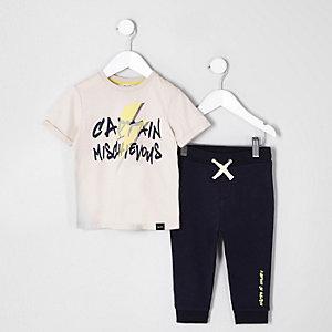 Mini - Outfit met kiezelkleurig T-shirt met 'Mischievous'-print voor jongens