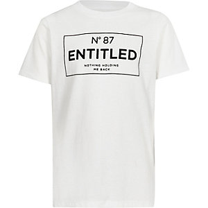 Boys white 'entitled' short sleeve T-shirt
