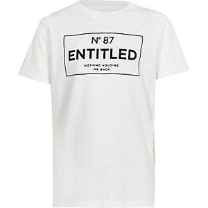 Wit T-shirt met 'Entitled'-print en korte mouwen voor jongens
