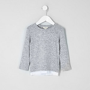 Mini boys grey layered hem long sleeve top