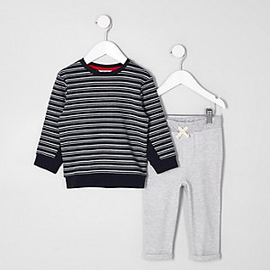 Mini boys navy stripe sweater outfit