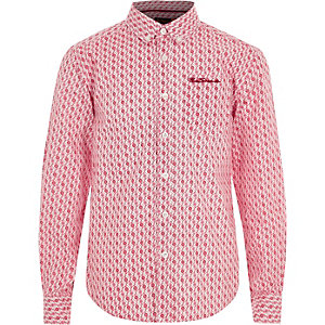 Boys red Ben Sherman geo print shirt