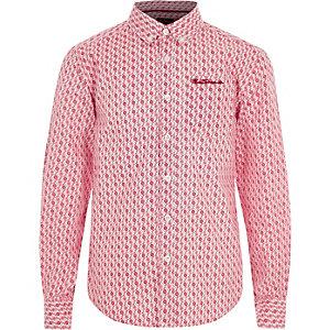 Ben Sherman - Rood overhemd met geometrische print voor jongens