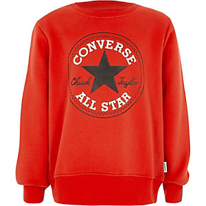 Boys red Converse front print sweatshirt
