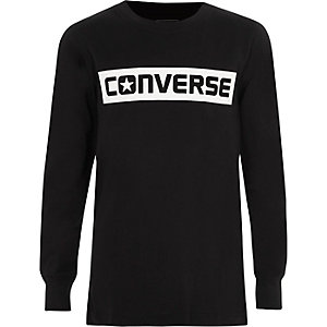 Boys black Converse print long sleeve T-shirt