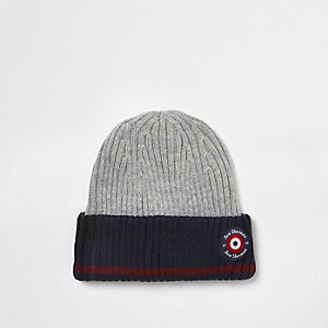 Boys grey Ben Sherman ribbed beanie hat
