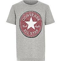 Boys grey marl Converse print T-shirt