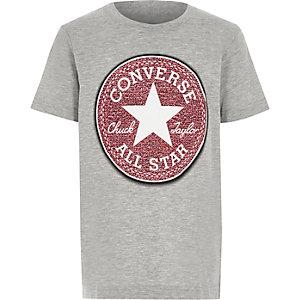 Converse - Grijs gemêleerd T-shirt met print voor jongens