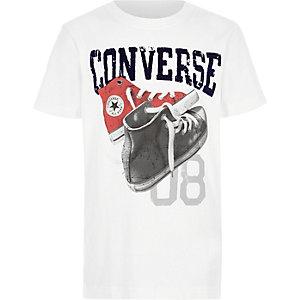 Converse – T-shirt imprimé baskets blanc pour garçon