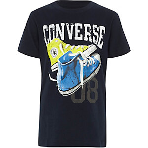 Boys navy Converse sneakers print T-shirt